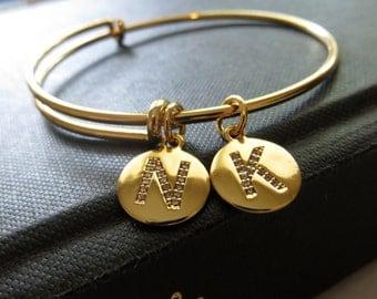 Crystal initial bangle bracelet, CZ crystal initial bracelet, expandable gold bangle, Personalized bangle, adjustable
