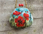 Nuno Felted Coin Purse red Poppies with bronze bag frame metal closure, Pouch, Clutch, handmade, OOAK, Wet Felted   Ready to Ship