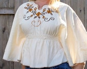 1970s Womens Shirt Embrodiered Butterfly Shirt Poncho Shirt