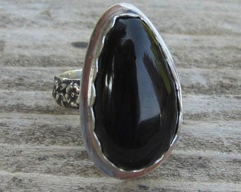 Native American Inspired Obsidian Sterling Silver Ring - Size 8-1/4