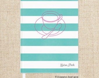 Wedding Hard Cover Journal or Guestbook with Coffee Graphic and Striped Design. Wedding Gift