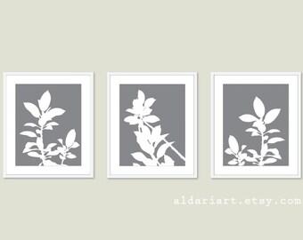 Botanical Print Set - Slate Grey and White Plants - Modern Home Decor - Botanical Wall Art - Spring Decor