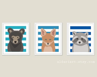 Woodland Animals Nursery Wall Art - Bear Fox Raccoon Art Prints - Baby Children Art - Blue