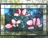 """Pink Dogwood Flowers- 12"""" x 18""""--Stained Glass Window Panel"""
