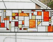 """Mission Style Geometric Transom --9 3/8"""" x 48""""- Stained Glass Panel"""