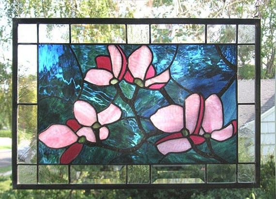 "Pink Dogwood Flowers- 12"" x 18""--Stained Glass Window Panel"