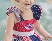 Gooseberry Lane Patriotic Nautical Cruise Flutter Dress