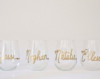 Personalized Stemless GLASS Wine Glasses ON SALE + Personalized Wedding Calligraphy for Bachelorette, Wedding, Shower + Event