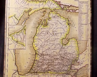 1853 Vintage Map of Michigan on Wood - artistically enhanced