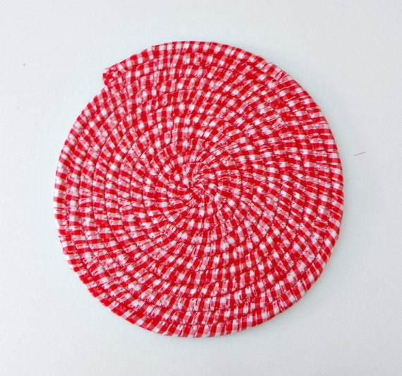 Gingham Rug: Red Gingham Coiled Fabric Mat Country Kitchen Mug Rug By
