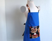 Childrens Apron - SUMMER SALE- A Blue Beauty with Yummy Pancakes! Great for a boy or girl! Fun kids cooking or arts and crafts apron!