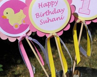 Centerpiece Sticks - Cupcake Rubber Ducky Theme -  1st Birthday Decorations - Set of 3