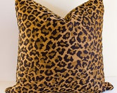 Chenille Leopard Pillow Cover / Animal Designer Pillow Cover/ Leopard Throw Pillow/ Select Your Size
