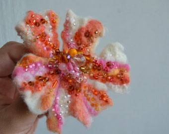 Felt Flower - Wool Pin White Pink Orange - Floral Brooch - OOAK Art Brooch - handmade felt flower corsage