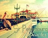 St Petersburg Florida art, St Pete Pier Old Florida Art, 8x10 photograph,  coastal decor beach vintage St Petersburg art old car pelican art