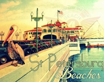St Petersburg Florida art, St Pete Pier Old Florida Art, 8x10 photograph,  coastal decor beach vintage St Petersburg art old car pelican art