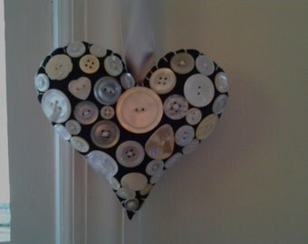 Vintage Pearl Button Valentine Heart Decoration
