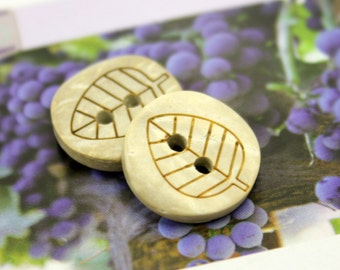 Wooden Buttons - Set 10 Broad Leaf Pattern Small Wooden Buttons.  0.59 inch