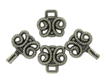 HOOK And EYE Fasteners - Twisted Rope Butterfly Cloak Clasp Gunmetal Fasteners. 5 Pairs.
