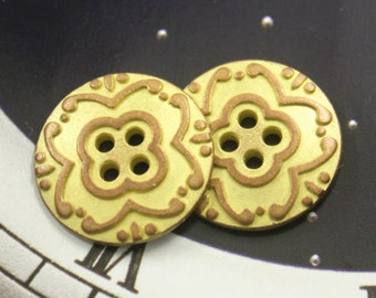 Metal Buttons - Flower Metal Buttons , Copper Yellow Color , 4 Holes , 0.79 inch , 10 pcs