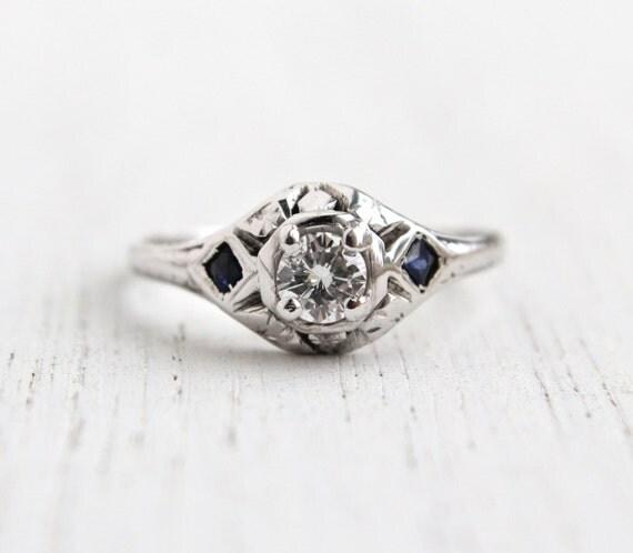 Antique Art Deco 20K White Gold 1 4 Carat Diamond Ring Size
