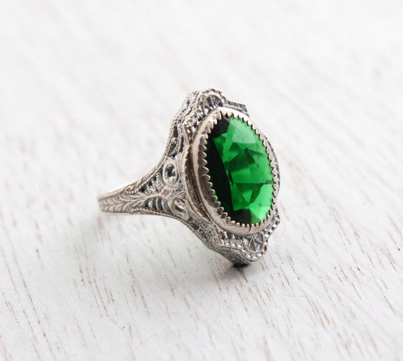 Antique Genuine Art Deco Emerald Green Ring 1920s 1930s Size