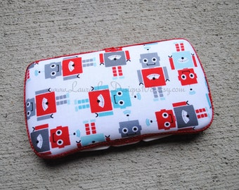 Robots on White Boutique Style Travel Baby Wipe Case by LauraLeeDesigns108 by LauraLeeDesigns108