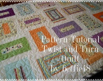 Jelly Roll Quilt Pattern, Twist and Turn Quilt, pdf