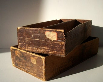 Vintage Rustic Distressed Wood Bins / Divided Wood Box / Antique Hardware Store Trays / Pair