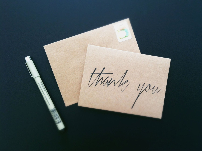 25 thank you cards scriptsouthjenni on etsy