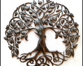 "Metal Art, DecorativeTree Wall Hanging, Haitian Recycled Steel Drum Wall Decor, Handcrafted Metal Wall Art, Metal Art of Haiti  34"" - 341-34"