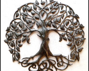"Haitian Metal Art, Tree of Life, Wall Hanging, Metal Art of Haiti, Recycled Steel Drum Wall Decor, Haitian Art, Metal Wall Art, 34"" - 341-34"