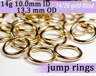 14g 10.0mm ID 13.3mm OD gold filled jump rings -- goldfill jumprings 14k goldfilled 14g10.00