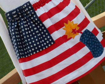 Buy Any 2 Skirts and Get 1 FREE, American Flag Apron Skirt, Size 2, 3, 4, 5, 6, 7, 8, 9, 10, and 12