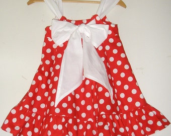 Minnie Mouse Red and white   polka Knot dress  12 months, 18 months.  2t, 3t, 4t,5t  6    Riley Blake Fabric