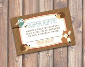Woodland Diaper Raffle Tickets Woodland Animals Baby Shower Diaper Raffle Cards Forest Animals Baby Shower, Owl Fox Twins - INSTANT DOWNLOAD