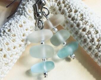 Ombre Sea Glass Dangle Earrings