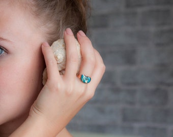 Adjustable Ring - Turquoise seashell
