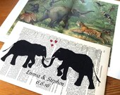 Elephants Sweet Love Wedding Engagement Anniversary Valentine Gift Personalized Art Print on Antique 1896 Dictionary Book Page