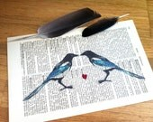 Love Magpies Valentine Wedding Anniversary Engagement Gift Personalized Art Print on Antique 1896 Dictionary Book Page