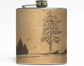 Rustic Tree Landscape Whiskey Flask Traveler Camping Hiking Backpacking Groomsmen Gift - Stainless Steel 6 oz Liquor Hip Flask LC-1108
