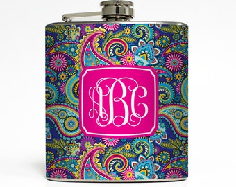 Custom Flask Personalized Blue Paisley Monogram Custom Name Initial 21st Birthday Women Gifts Stainless Steel 6 oz Liquor Hip Flask LC-1460