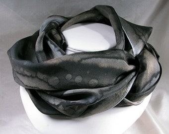 Silk Scarf, Hand Painted Silk Scarf, Abstract, Silk Wrap, Black and Grey - Midnight Rain
