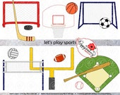 Let's Play Sports Clipart Set (300 dpi) Football Baseball Soccer Basketball Volleyball Hockey