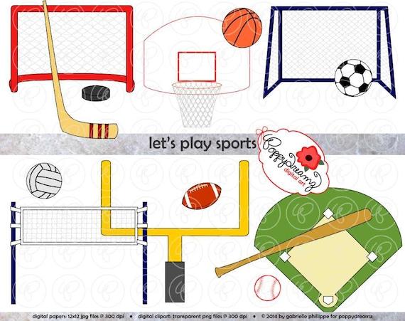 Color Sport Background Football Basketball Hockey Stock: Let's Play Sports Clipart Set (300 Dpi) Football Baseball