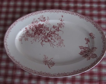 French Country Antique Red Transferware Platter, Sarreguemines Fontanges, Floral Bouquet and Bow
