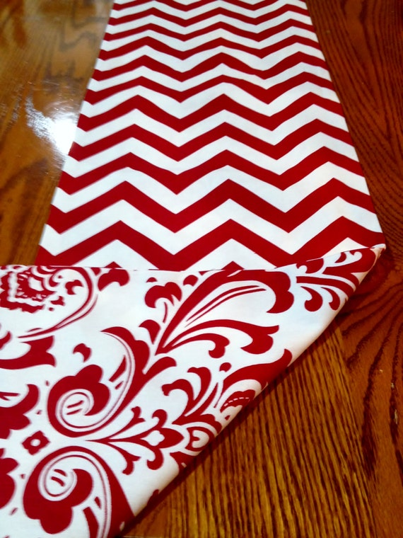 christmas Reversible White  and table   Damask mats Christmas Chevron and  runner Red Runner and Table