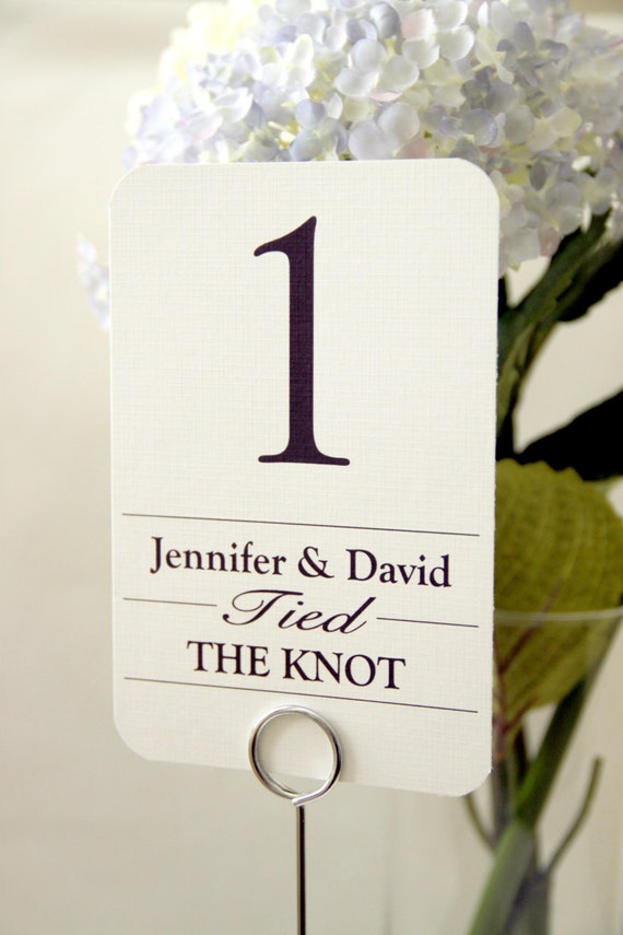20 Custom Wedding Table Number Cards - Eternity; Personalized with Names Table Tent Place Setting wedding signs wedding decor Table Names