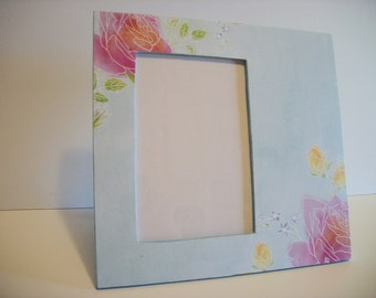 Blue Picture Frame Blue with Pink Roses Pale Blue Decor