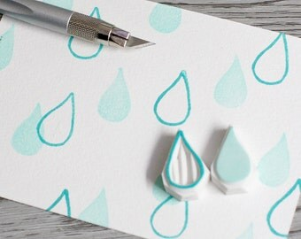 raindrop stamp, tear drop rubber stamp, rain drops rubber stamp, liquid stamp, border stamp, water drop rubber stamp, water stamp, weather